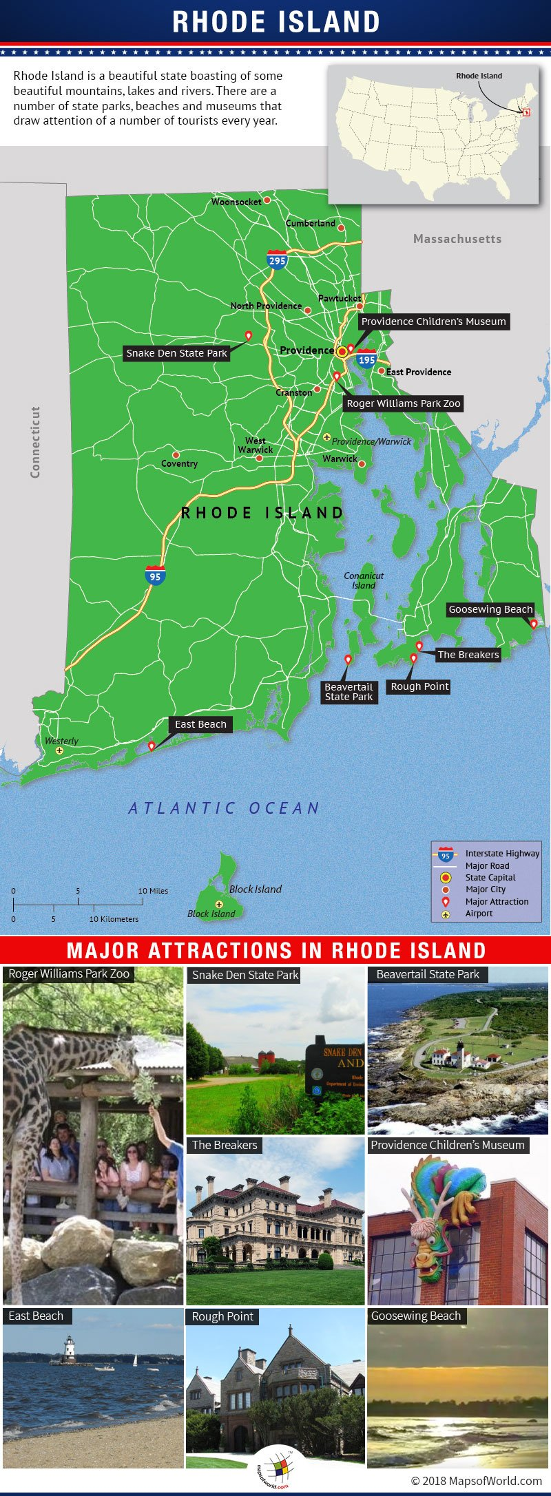 Infographic Depicting Rhode Island Tourist Attractions