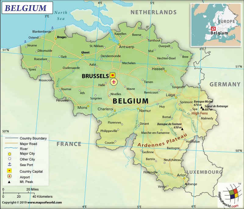 Image Depicting Map of Belgium