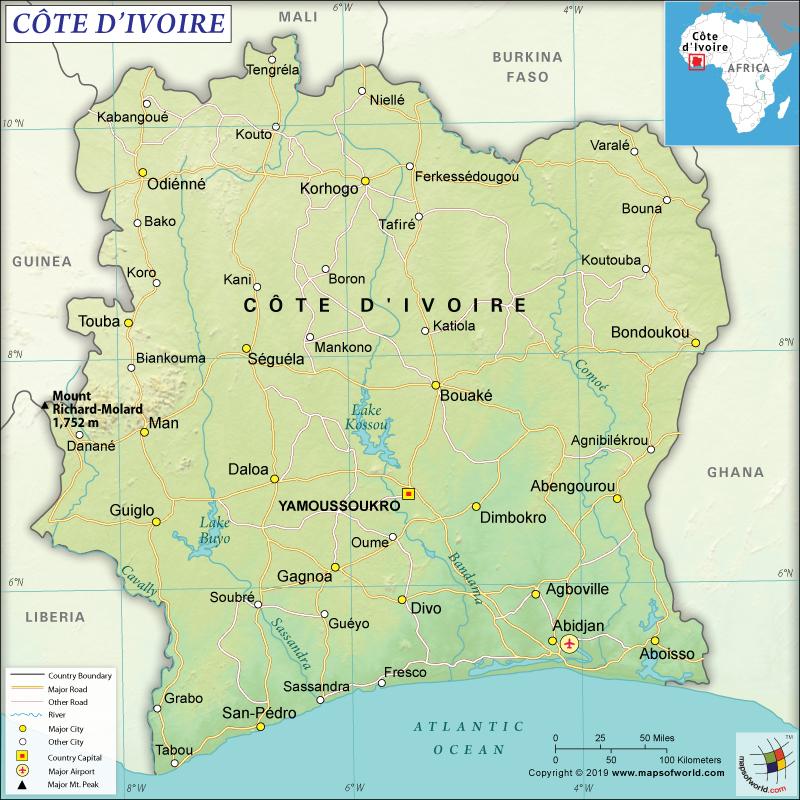 Official Nam of Côte d'Ivoire is Republic of Côte d'Ivoire