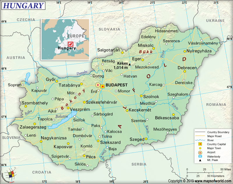 Map of Hungary (A Central European Country)