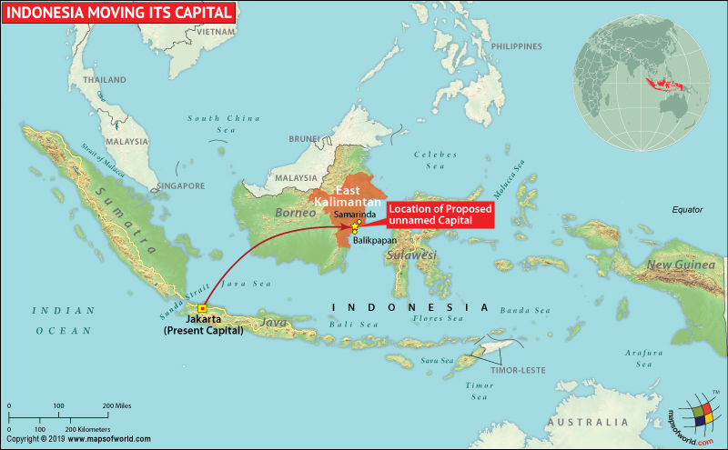 Map of Indonesia Showing Location of Proposed Unnamed Capital