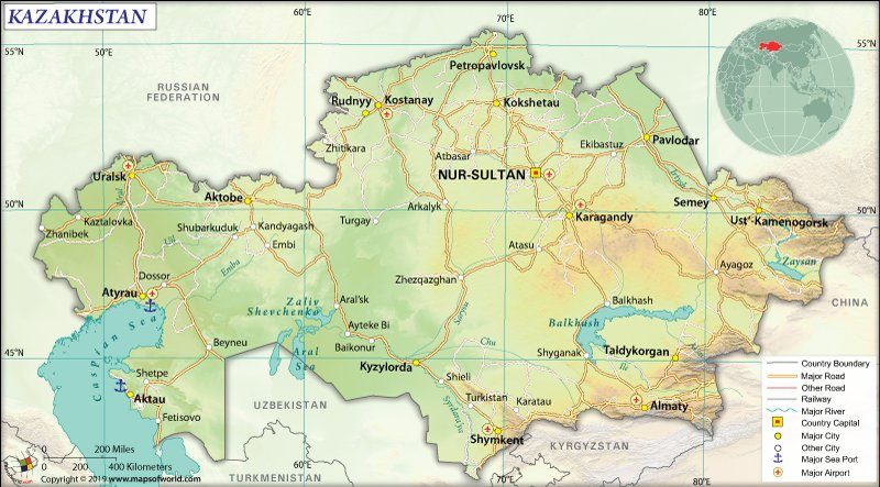 Map of Republic of Kazakhstan