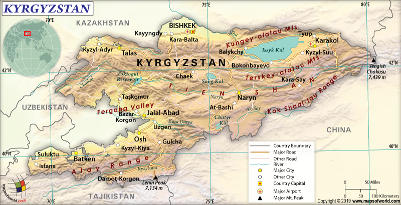 Map of Kyrgyz Republic (Kyrgyzstan)