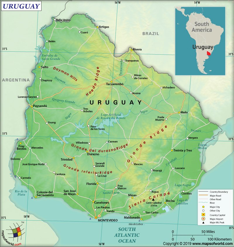 Map of Oriental Republic of Uruguay