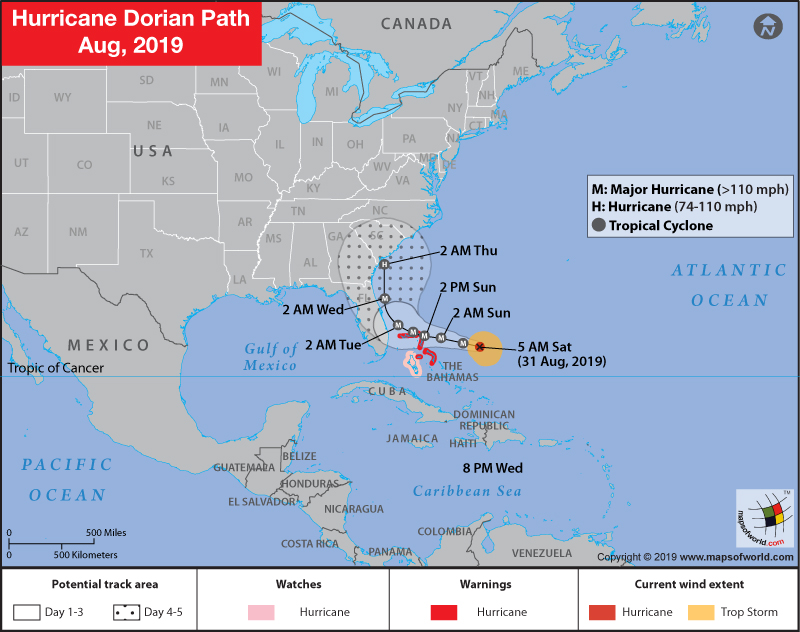 Map depicting path of Hurricane Dorian - Category 4 Storm.jpg