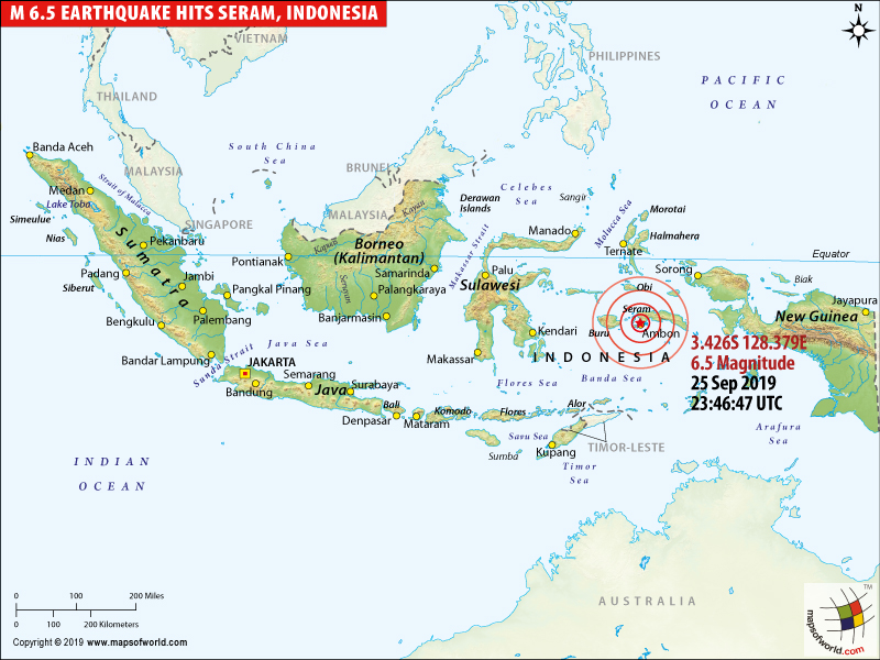 Map - Earthquake Hits Seram, Indonesia