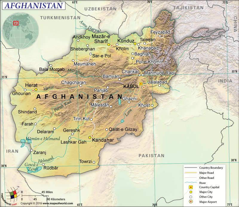 Map of Islamic Republic of Afghanistan