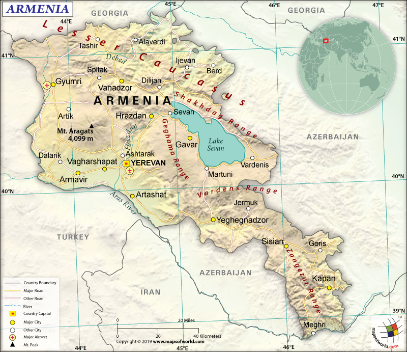 Map of Republic of Armenia