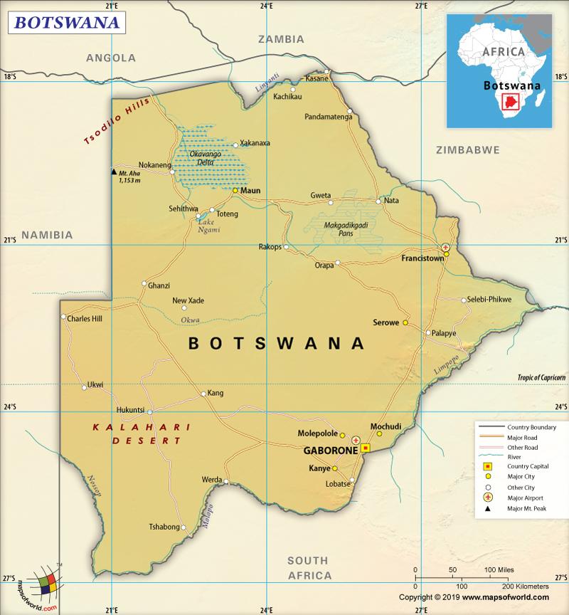 Map of Republic of Botswana
