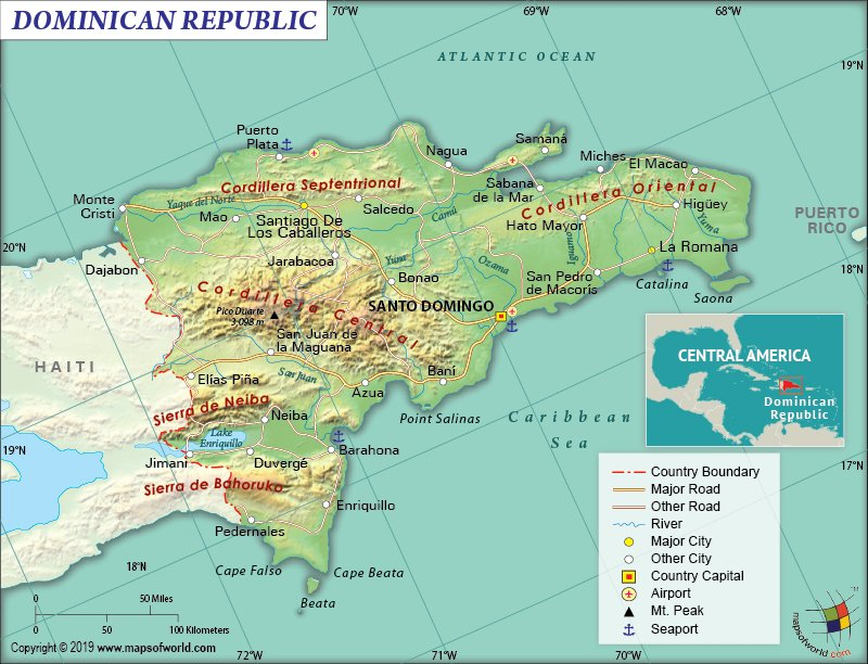 Map of Dominican Republic, A Caribbean Nation