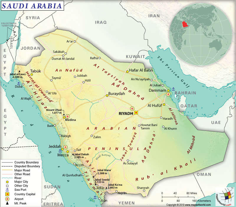 Map of Kingdom of Saudi Arabia