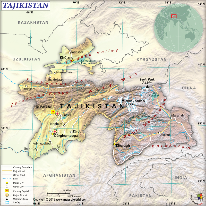 Map of Republic of Tajikistan