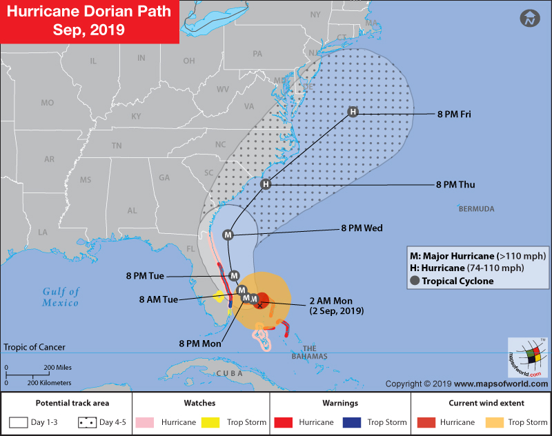 Map Showing Path of Hurricane Dorian - Category 5 Storm