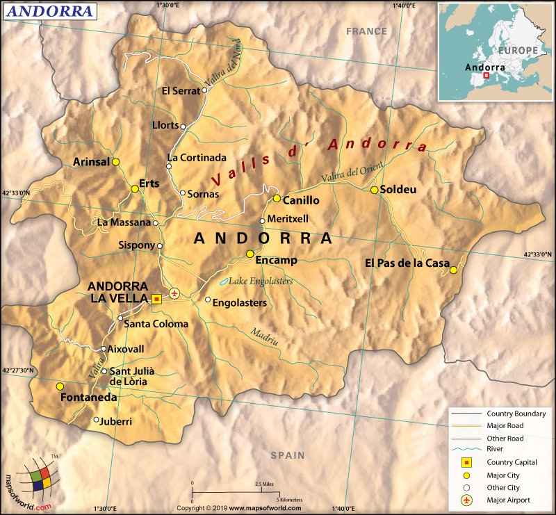Map of Principality of Andorra