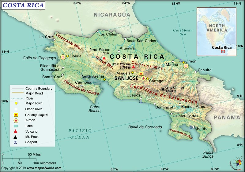 Map of Republic of Costa Rica