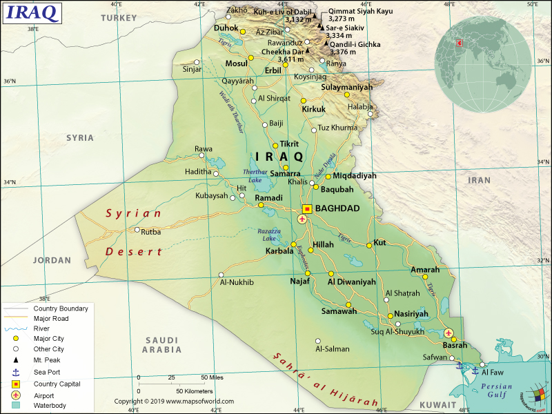 Map of Republic of Iraq