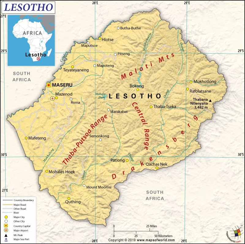 Map of Kingdom of Lesotho
