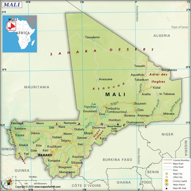 Map of Republic of Mali