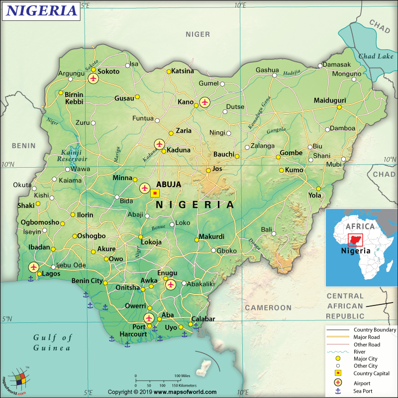 Map of Federal Republic of Nigeria