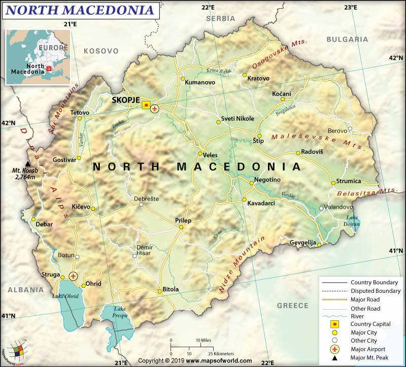 Map of Republic of North Macedonia