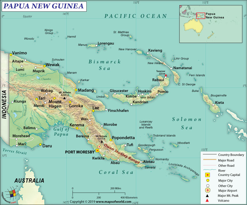 Map of Independent State of Papua New Guinea