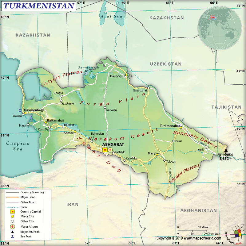 Map of Republic of Turkmenistan
