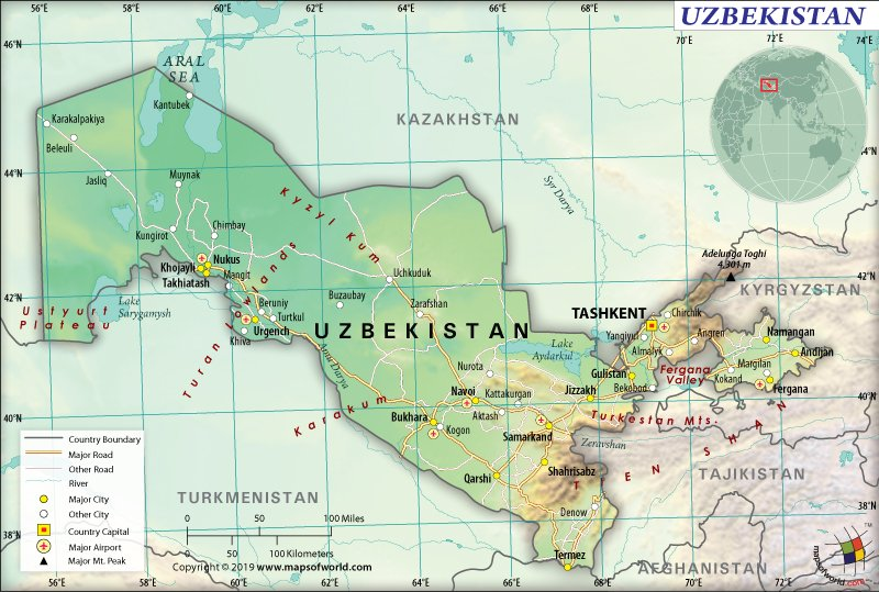 Map of Republic of Uzbekistan