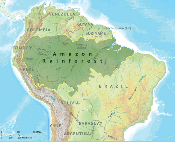 Map Depicting Location of Amazon Rainforest