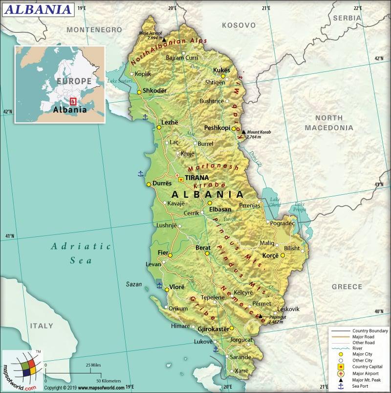 Map of Republic of Albania
