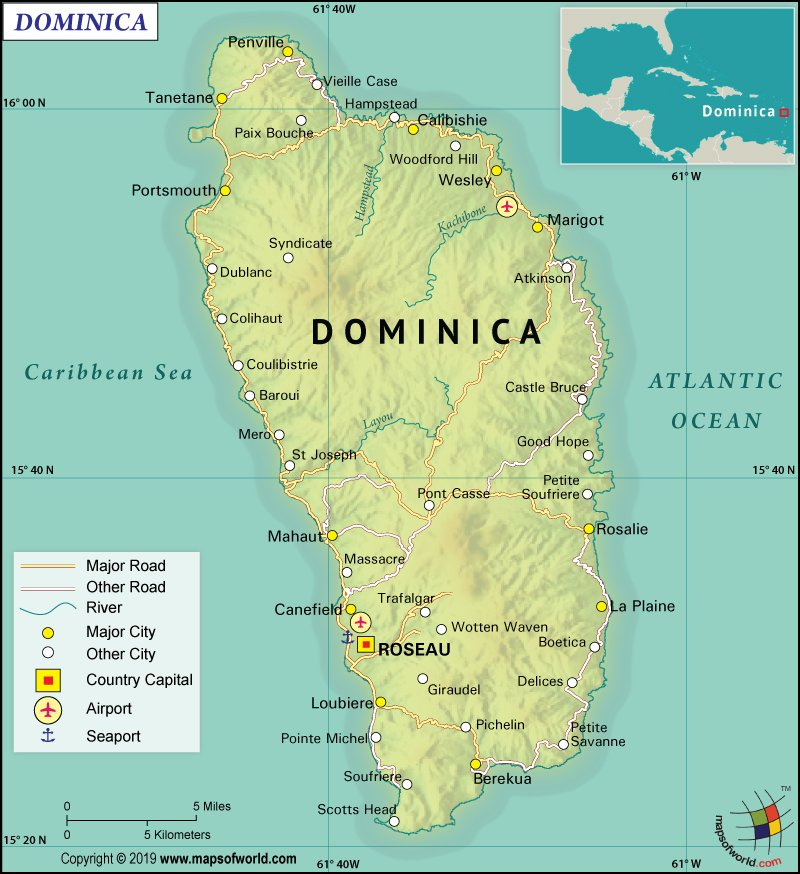 Map of Commonwealth of Dominica