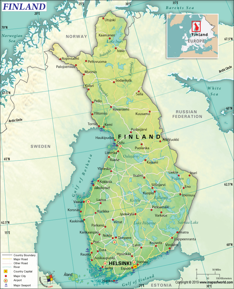 Map of Republic of Finland