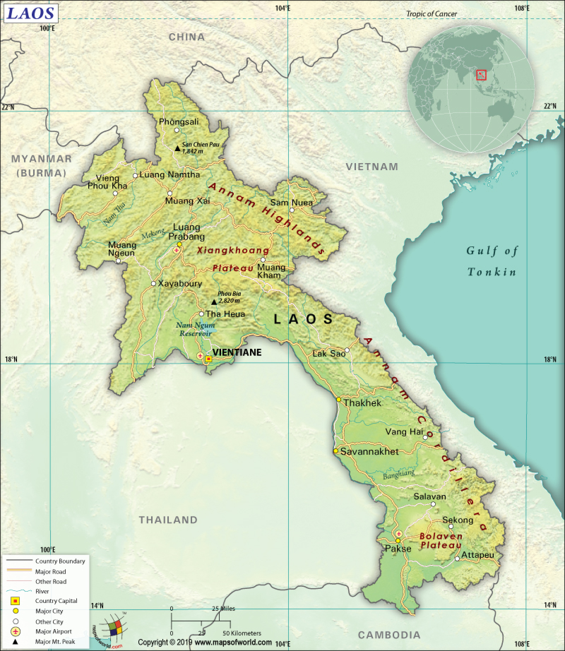 Map of Lao People's Democratic Republic