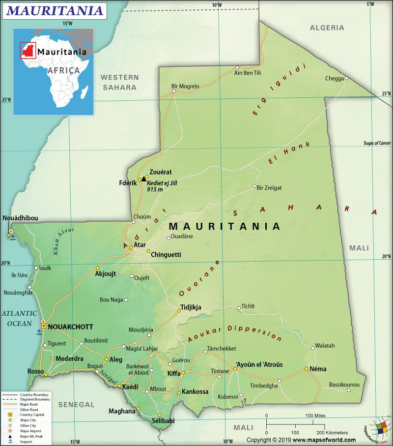 Map of Islamic Republic of Mauritania