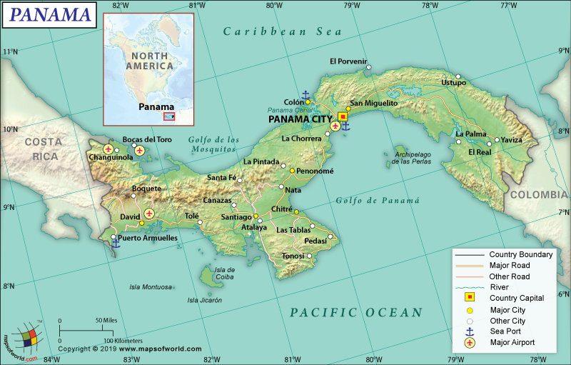 Map of Republic of Panama