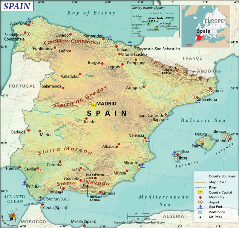 Map of Kingdom of Spain