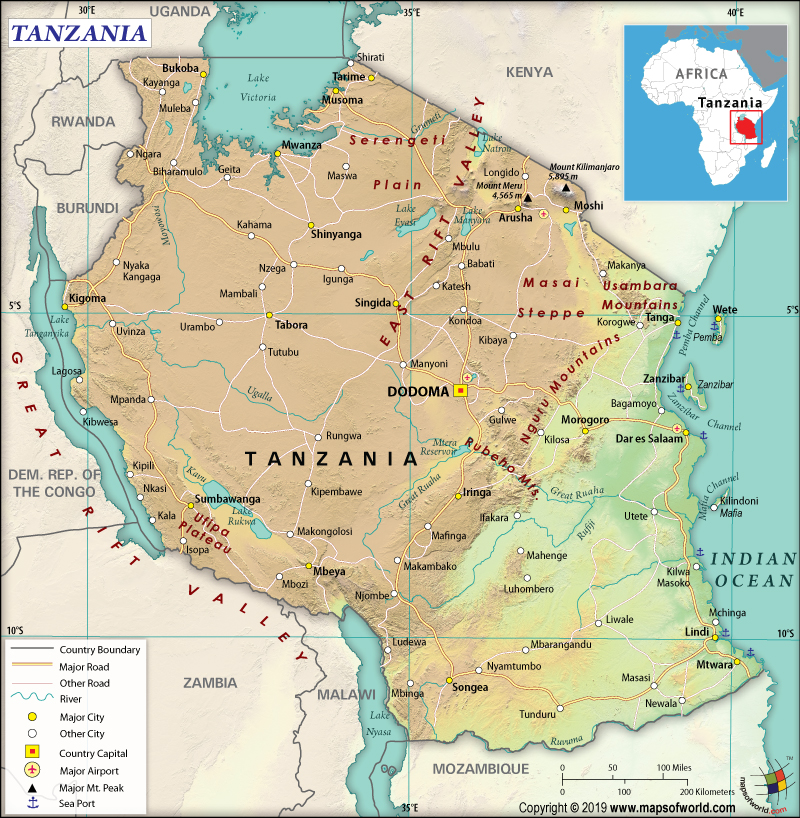 Map of United Republic of Tanzania