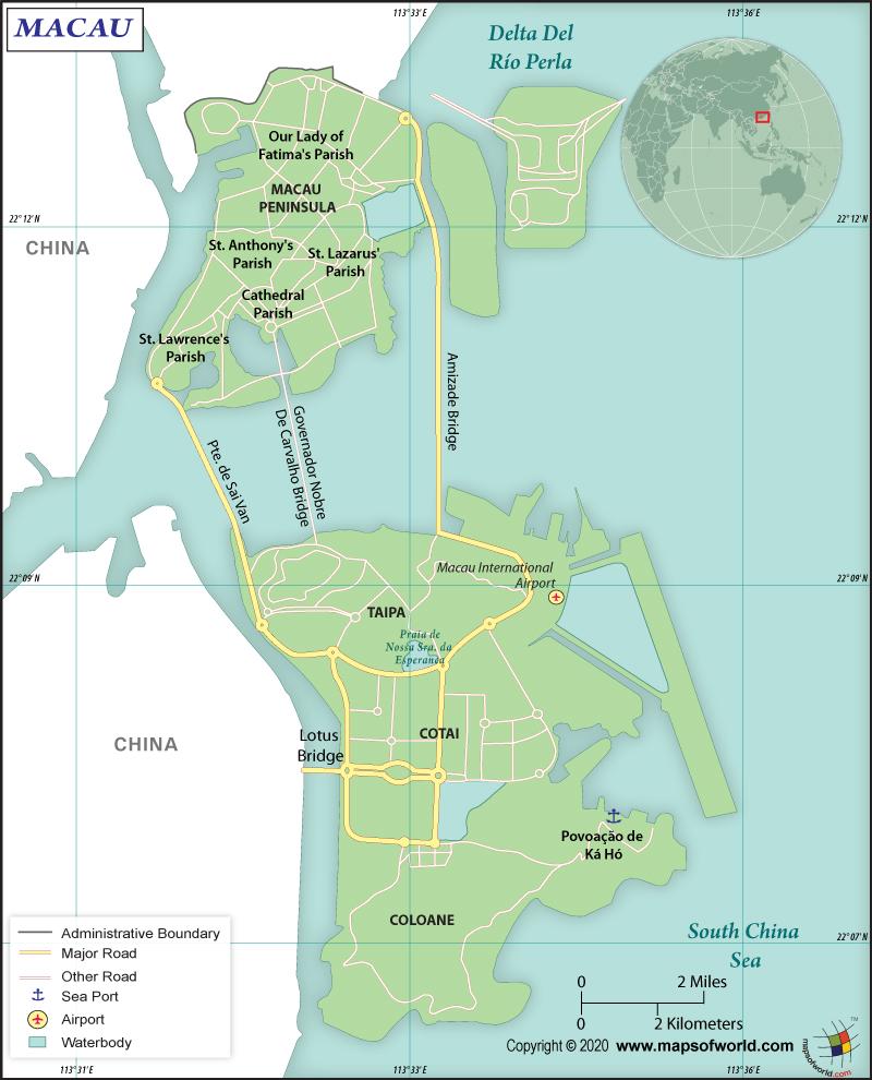 Map of Macau Special Administrative Region