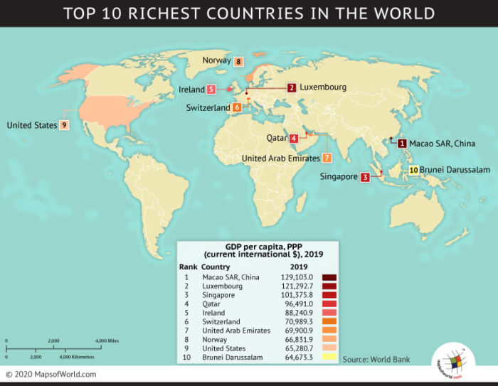 Map Showing Top 10 Richest Countries in the World