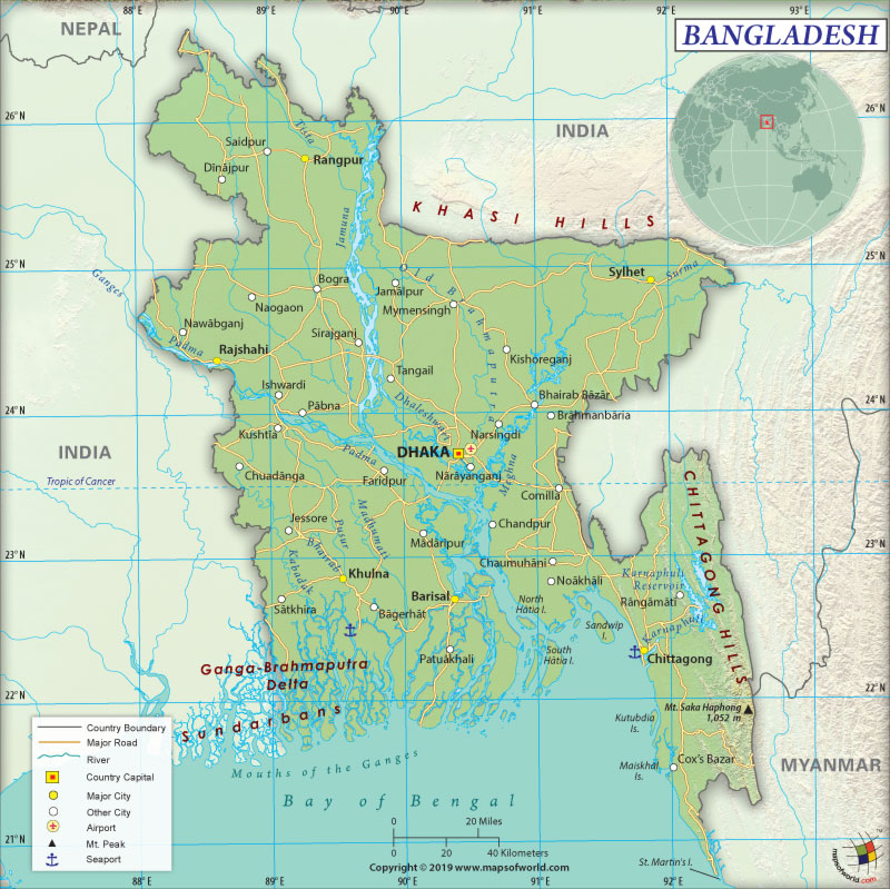 Map of People's Republic of Bangladesh