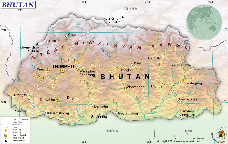 Map of Kingdom of Bhutan