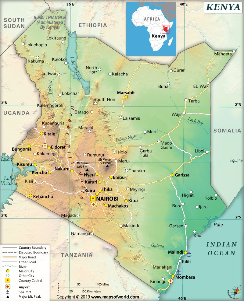 Map of Republic of Kenya