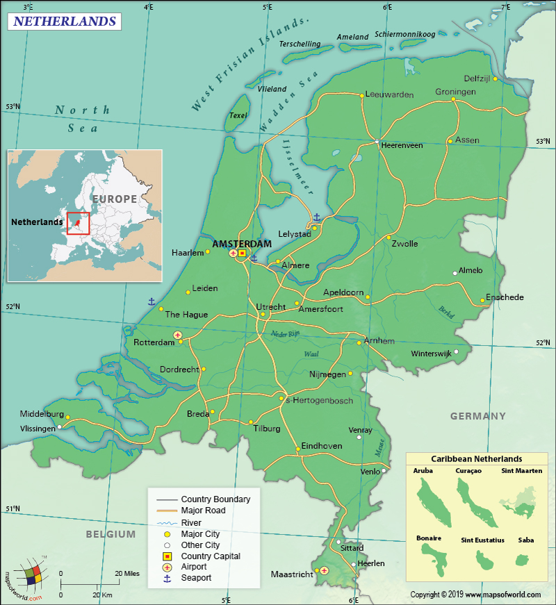 Map of the Kingdom of the Netherlands