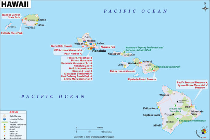Map of Hawaii showing which ocean surround hawaii