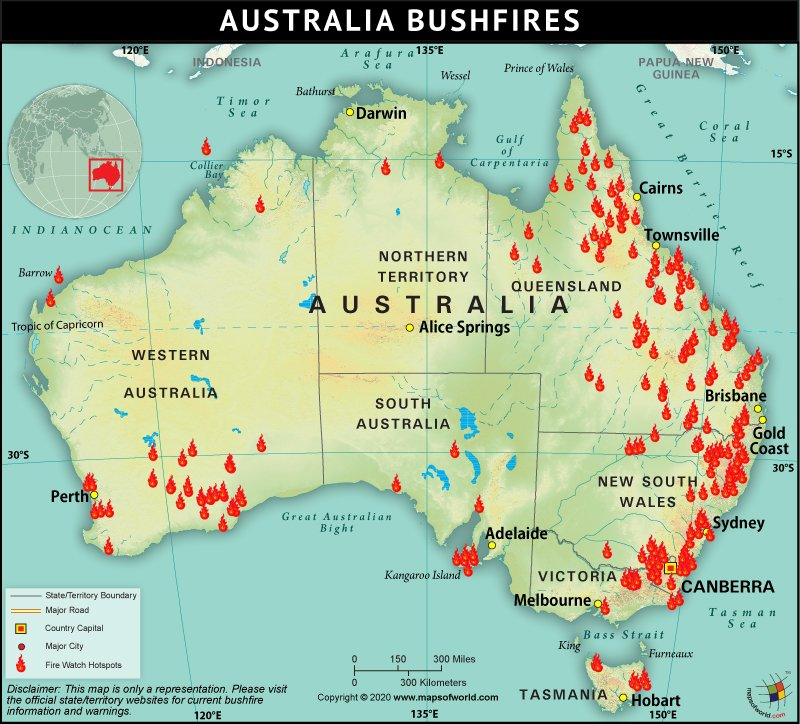 Map of Australia Bushfire
