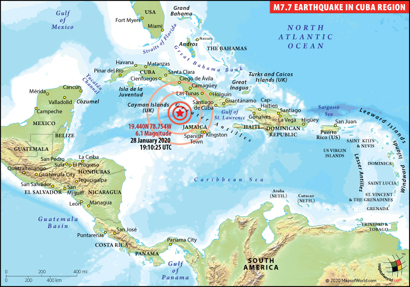 Map Depicting Earthquake in Cuba Region