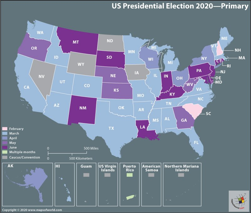 Map of USA - Presidential Election 2020 - Primary
