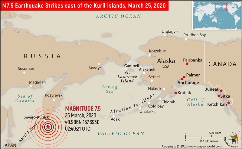 Map Depicting Location of East of the Kurli Islands in Russia which was Hit by 7.5M Earthquake on March 25, 2020