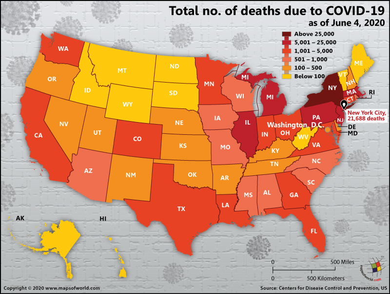 Map of USA Showing Total Number of Deaths Due to COVID-19 as on June 04, 2020
