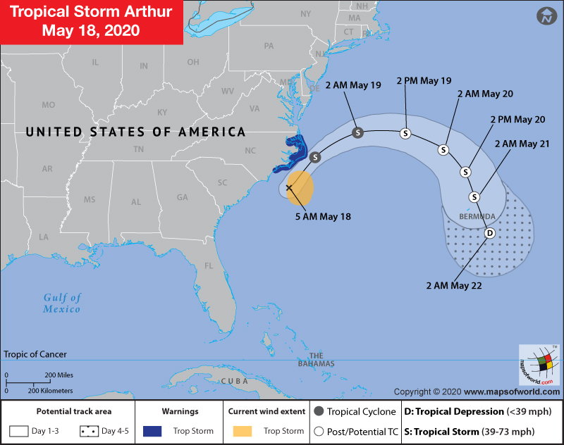 Map Showing Location of Tropical Storm Arthur