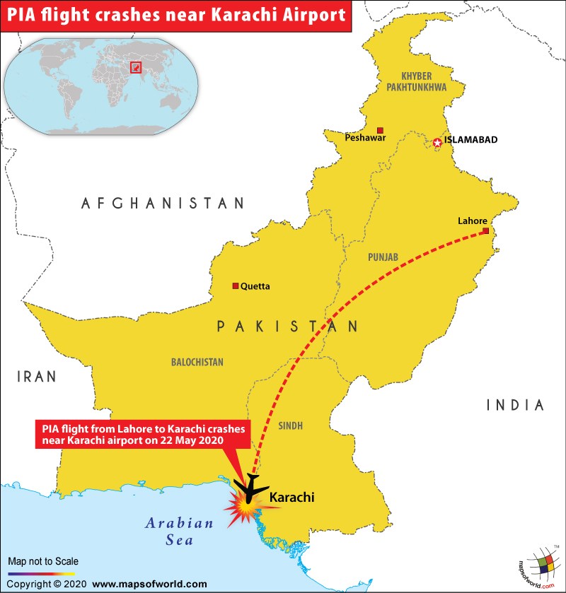 Map of Pakistan Depicting Location Where PIA Flight Crashed Near Karachi Airport